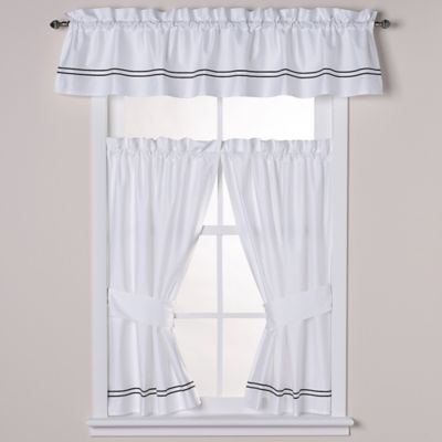 Wamsutta® Baratta Stitch Window Panel Pair in White/Black