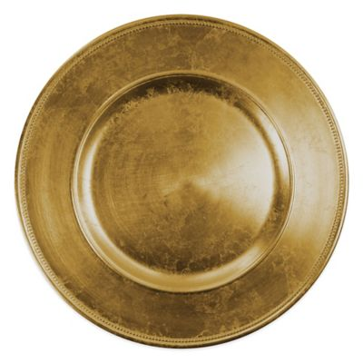 Jay Beaded Charger Plate in Gold Dinnerware