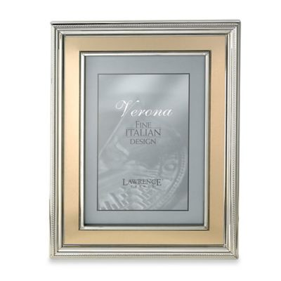 Lawrence Frames 4-Inch x 6-Inch Silver-Plated Picture Frame with Brushed Gold Inner Panel