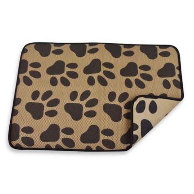 Paw Prints 12-Inch x 18-Inch Reversible Pet Mat in Taupe/Black