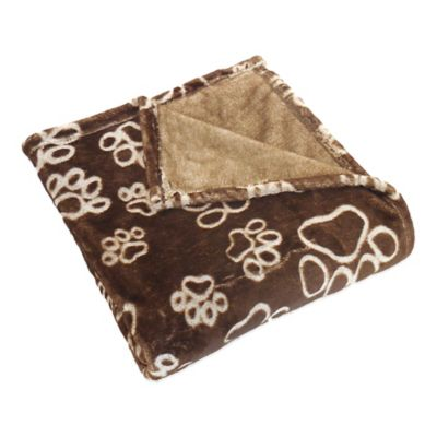 Pawslife™ Ultra Plush Embossed Paws Pet Blanket in Brown
