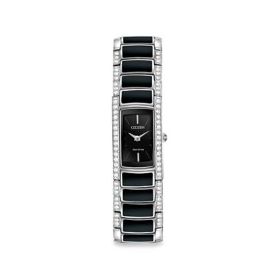 Citizen Eco-Drive Ladies' 16mm Normandie Watch in Stainless Steel/Black Resin