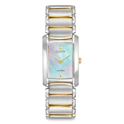 Citizen Eco-Drive Ladies' Euphoria Mother of Pear Dial Watch in Silver/Goldtone Stainless Steel