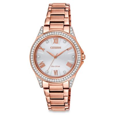 Citizen Drive from Eco-Drive Ladies' 34mm Swarovski® POV Watch in Rose Goldtone Stainless Steel