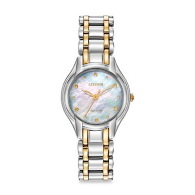 Citizen Ladies' Eco-Drive Silhouette Watch with Mother of Pearl Dial in Two-Tone Stainless Steel