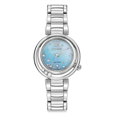 Citizen Eco-Drive Ladies' 30mm Diamond-Accented Sunrise Watch in Stainless Steel