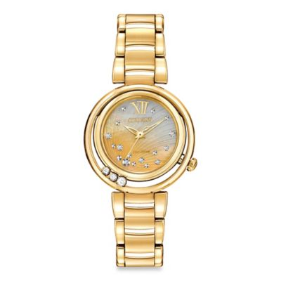 Citizen Eco-Drive Ladies' 30mm Diamond-Accented Sunrise Watch in Goldtone Stainless Steel