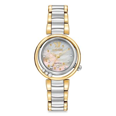 Citizen Eco-Drive Ladies' 30mm Diamond-Accented Sunrise Watch in Two-Tone Stainless Steel