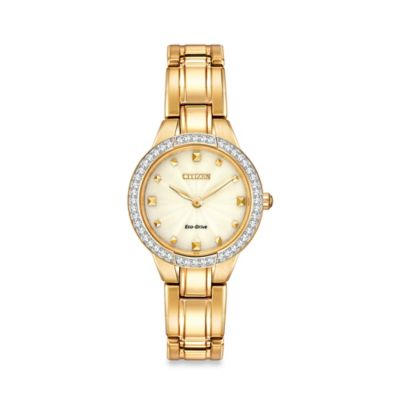 Citizen Ladies' Eco-Drive Silhouette Crystal Watch with Swarovski Accents in Gold-Tone