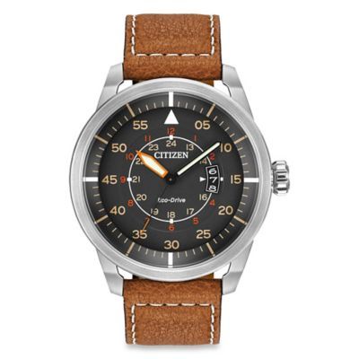 Citizen Men's Eco-Drive Avion Watch with 12/24-Hour Time with Tan Strap