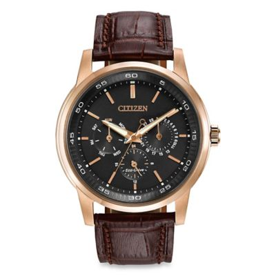 Citizen Men's Eco-Drive Dress Watch with 12/24-Hour Time and Brown Leather Strap
