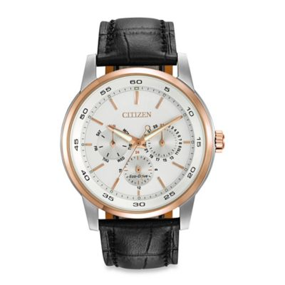 Citizen Men's Eco-Drive Dress Watch with 12/24-Hour Time and Black Leather Strap