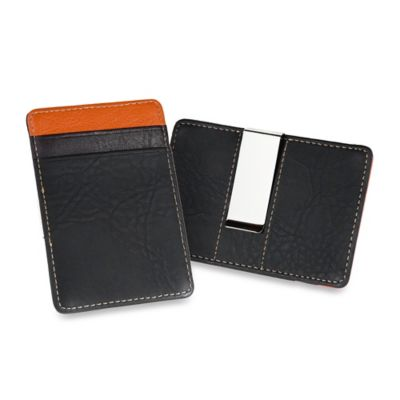 Leather Card Case and Money Clip in Black/Orange