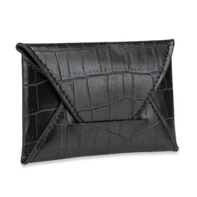 Croc-Embossed Leather Card Holder in Black
