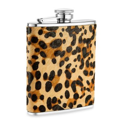 Leather Ponyhair 6 oz. Flask in Leopard