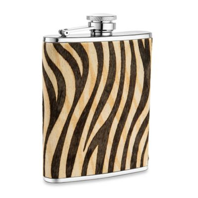 Wilouby Leather Ponyhair 6 oz. Flask in Zebra