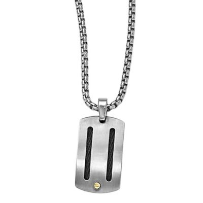 Edward Mirell Titanium 18K Gold Men's Memory Cable 20-Inch Sterling Silver Chain Pendant Necklace