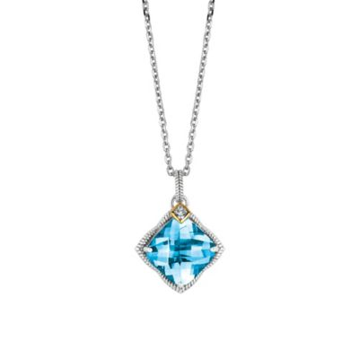 Phillip Gavriel Sterling Silver/18K Gold .02 cttw Diamond and Faceted Blue Topaz Pendant Necklace