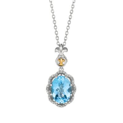 Phillip Gavriel Sterling Silver and 18K Gold Oval .04 cttw Diamond and Blue Topaz Pendant Necklace