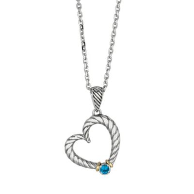 Phillip Gavriel Rhodium Plated Sterling Silver and 18K Gold Blue Topaz Twisted Cable Heart Pendant