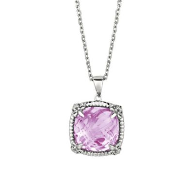 Phillip Gavriel Rhodium Plated Sterling Silver Pink Amethyst and White Sapphire Pendant Necklace