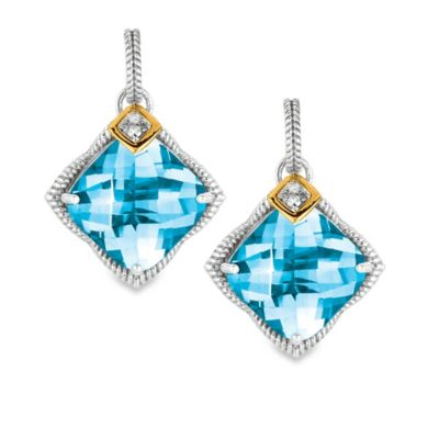 Phillip Gavriel Sterling Silver and 18K Gold Cushion Cut Blue Topaz and .04 cttw Diamond Earrings