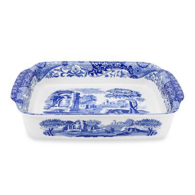 "Blue Italian 15 1/2"" x 11 1/2"" Lasagna Dish"