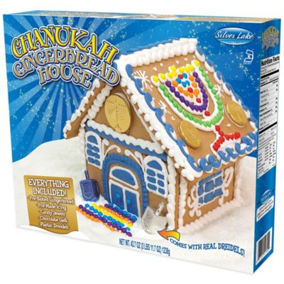 Hanukkah Gingerbread House with Dreidel and Chocolate Gelt Kosher