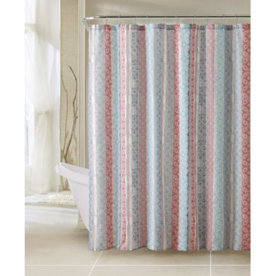 Contemporary Blue Fabric Shower Curtain