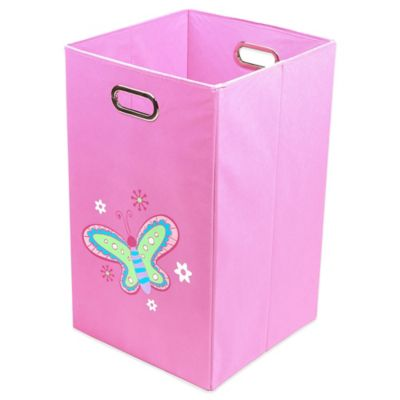 Nuby™ Butterfly Folding Laundry Bin in Light Pink