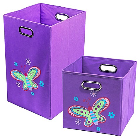 Nuby butterfly folding bin in purple bed bath beyond for Purple bathroom bin