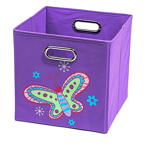 Nuby butterfly folding storage bin in purple bed bath for Purple bathroom bin