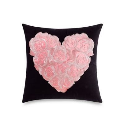 Betsey Johnson® Punk Princess Heart Shaped Rose Square Throw Pillow