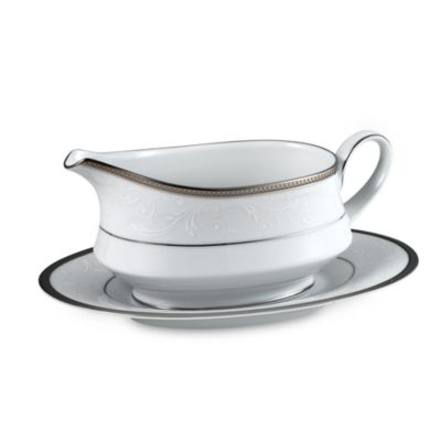 Noritake® Regina Gravy Boat with Stand in Platinum