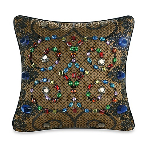 Nanette Lepore Baroque Jewels Square Throw Pillow in Teal - Bed Bath & Beyond
