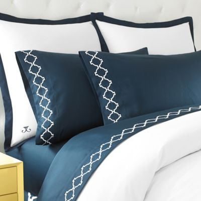 Jill Rosenwald Hampton Links Embroidered Standard Pillowcases in Navy (Set of 2)