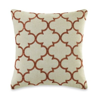 MYOP Club Embroidery Square Throw Pillow Cover in Rust