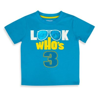 Kidtopia Size 4T Look Who's 3 Short Sleeve T-Shirt in Aqua