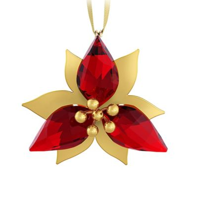 Goldtone Poinsettia Ornament in Swarovski® Crystal