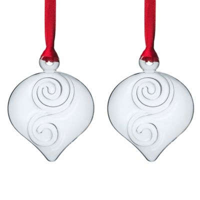 Orrefors Holly Days Christmas Bulb Ornaments in Clear (Set of 2)