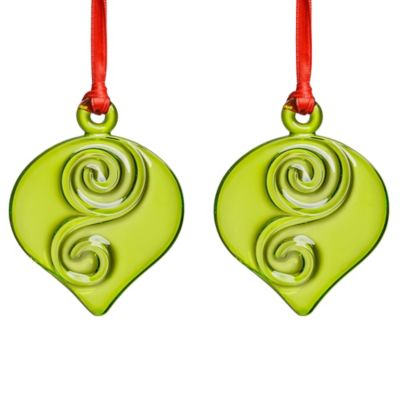 Orrefors Holly Days Christmas Bulb Ornaments in Lime (Set of 2)