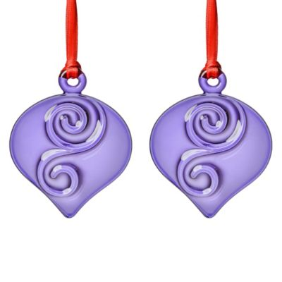 Orrefors Holly Days Christmas Bulb Ornaments in Violet (Set of 2)