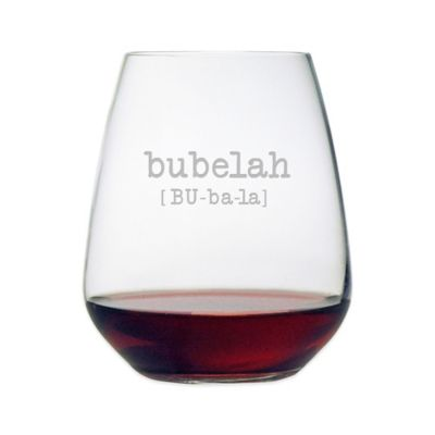 "Susquehanna Glass Etched ""Bubelah"" Stemless Wine Glass"