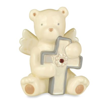 Grasslands Road® Bear Angel with January Garnet-Colored Glass Birthstone Cross