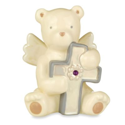 Grasslands Road® Bear Angel with February Amethyst-Colored Glass Birthstone Cross