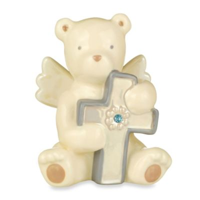 Grasslands Road® Bear Angel with March Aquamarine-Colored Glass Birthstone Cross