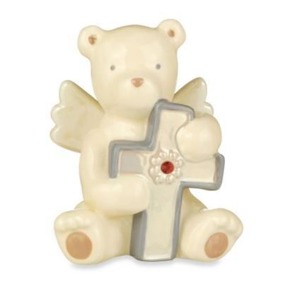 Grasslands Road® Bear Angel with July Ruby-Colored Glass Birthstone Cross