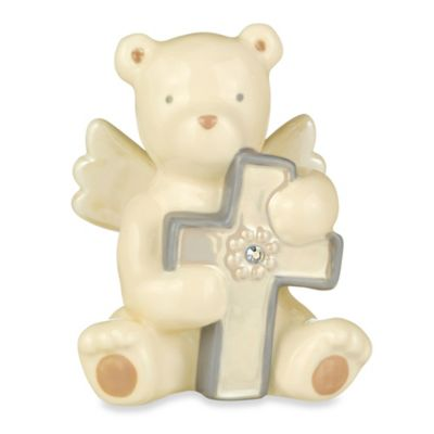 Grasslands Road® Bear Angel with October Opal-Colored Glass Birthstone Cross