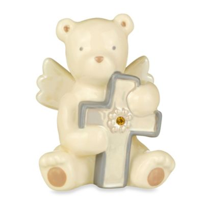 Grasslands Road® Bear Angel with November Yellow Topaz-Colored Glass Birthstone Cross