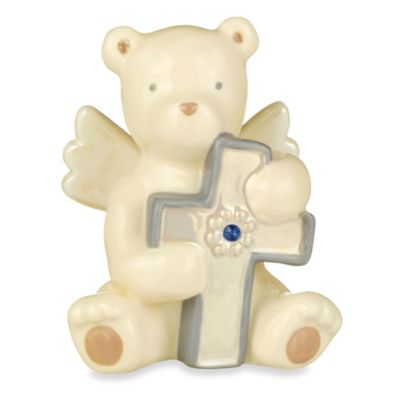 Grasslands Road® Bear Angel with December Blue Topaz-Colored Glass Birthstone Cross